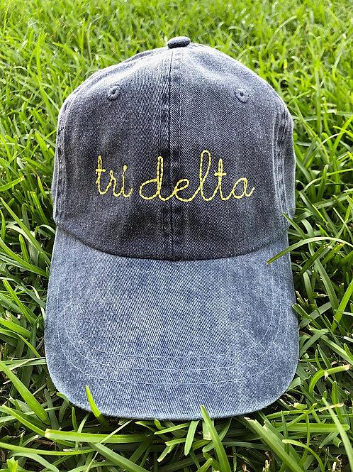 Delta Delta Delta Sorority Script Hat