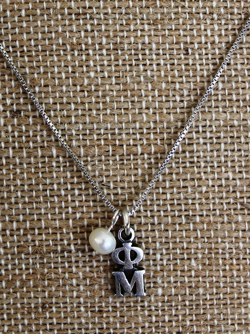 Phi Mu Lavaliar with Pearl Necklace