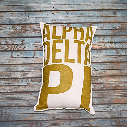 Alpha Delta Pi Gold Shimmer Pillow
