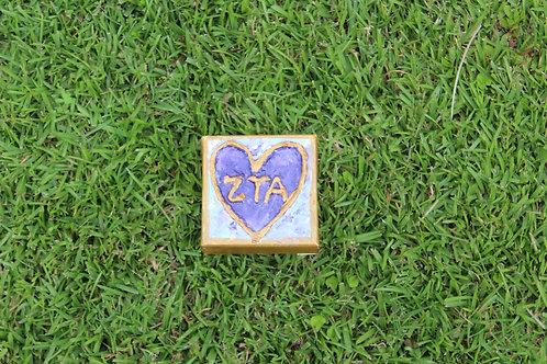Zeta Tau Alpha Small Heart Canvas
