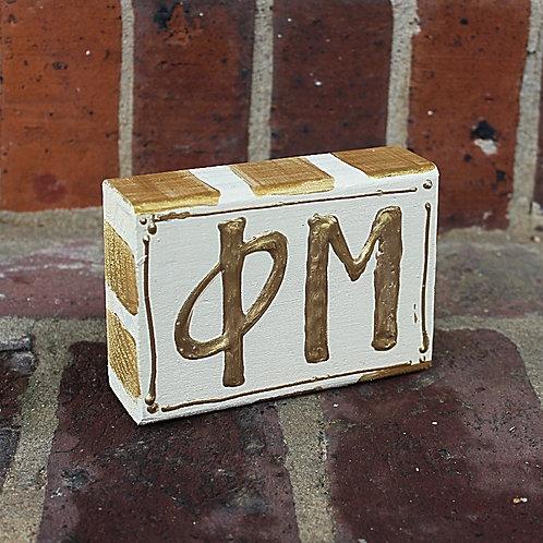 Phi Mu Gold & Cream Wooden Block