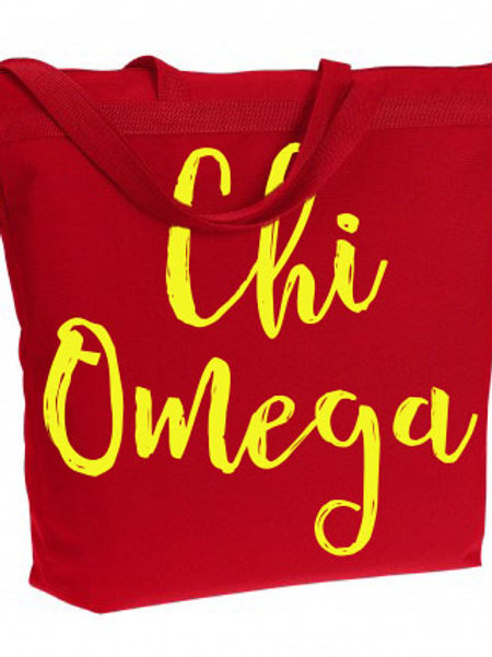 Chi Omega Zippered Tote