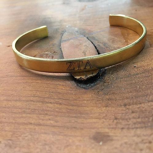 Zeta Tau Alpha Gold Cuff Bracelet
