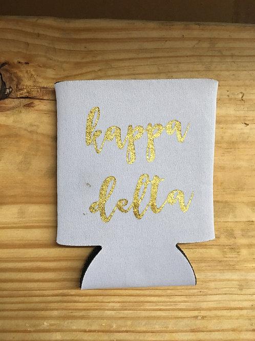 Kappa Delta White & Gold Koozie