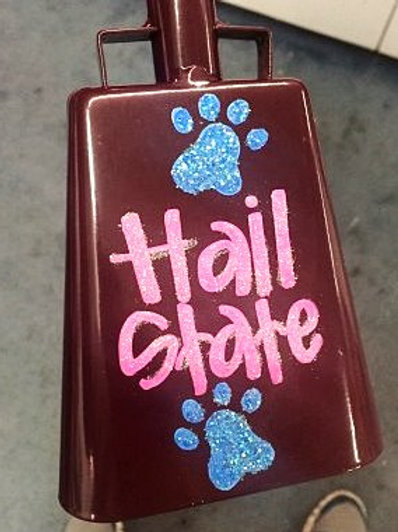 Hail State w/ Glitter Pawprints Cowbell