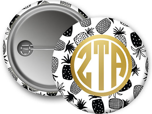 Zeta Tau Alpha Gold Pineapple Pin Button