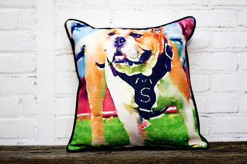 Abstract Bulldog Pillow