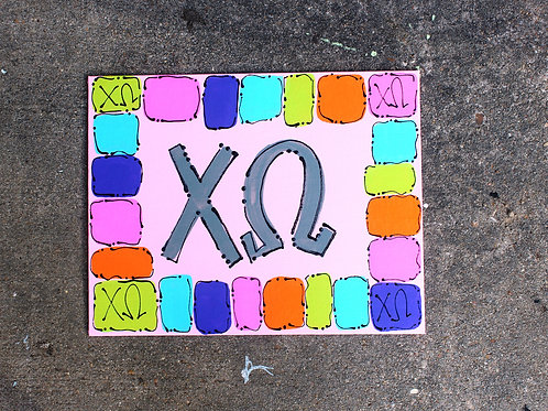 Chi Omega Happy Canvas
