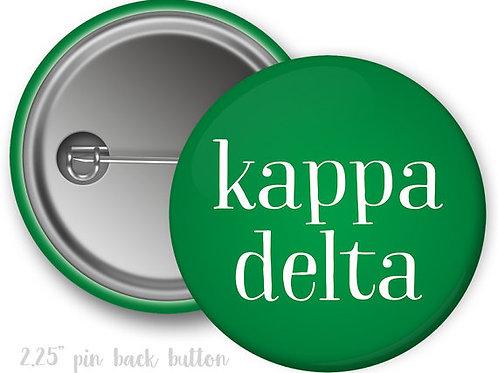 Kappa Delta Simple Script Pin Button