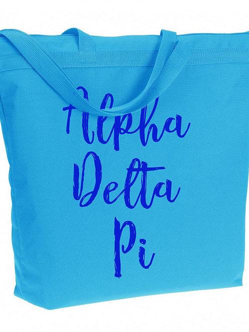 Alpha Delta Pi Zippered Tote