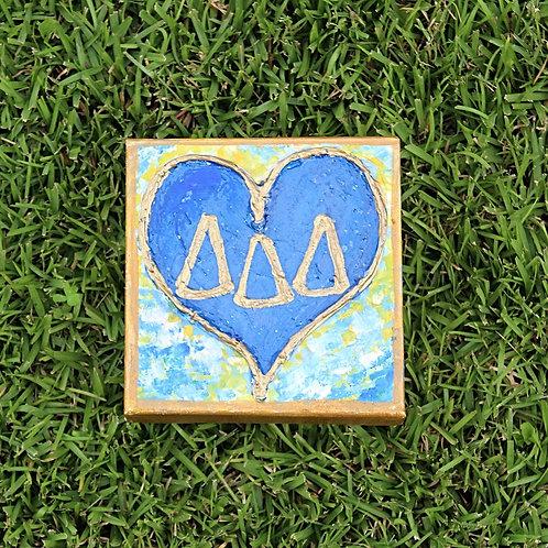 Tri Delta Large Heart Canvas