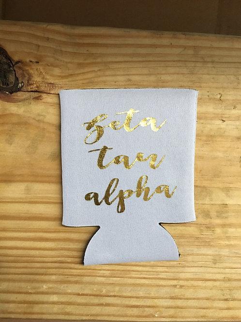 Zeta Tau Alpha White & Gold Koozie