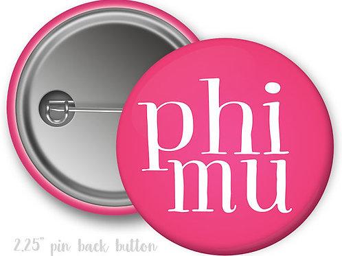 Phi Mu Simple Script Pin Button