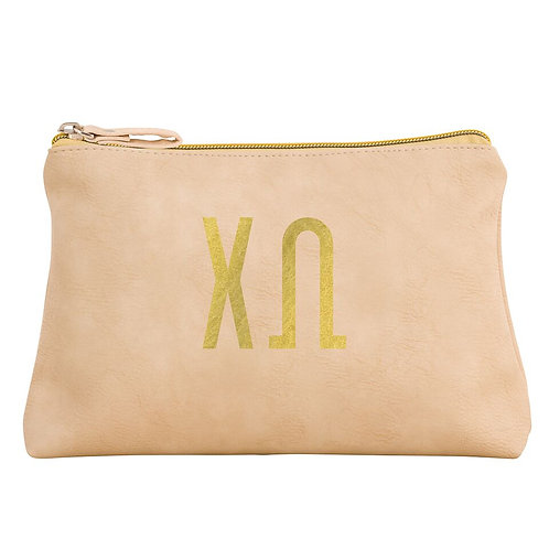Chi Omega Leather Cosmetic Bag