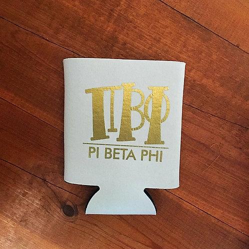 Pi Beta Phi White and Gold Koozie