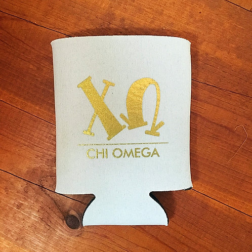 Chi Omega White and Gold Koozie