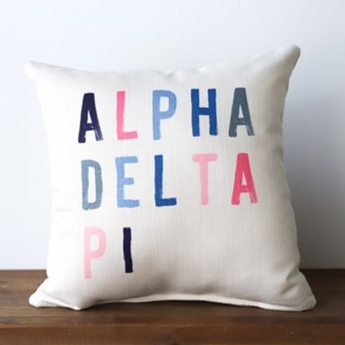Alpha Delta Pi Colorful Block Pillow