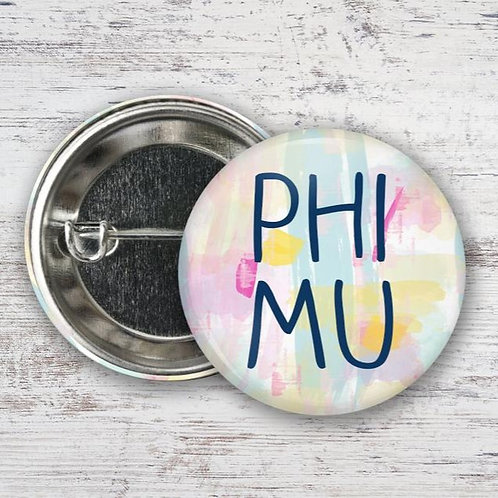 Phi Mu Watercolor Pin