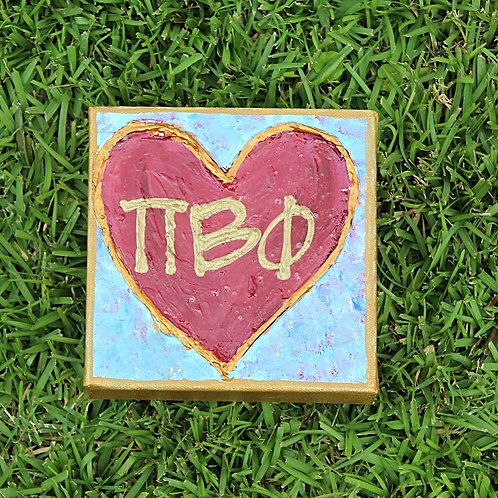 Pi Beta Phi Large Heart Canvas