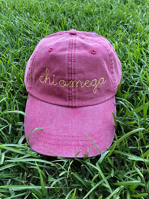 Chi Omega Sorority Script Hat