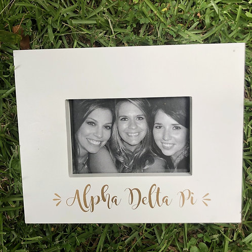Alpha Delta Pi White and Gold Frame
