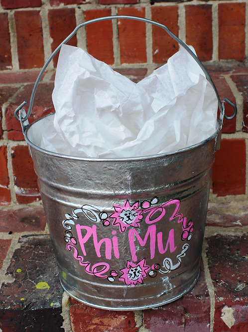 Phi Mu Medium Galvanized Bucket