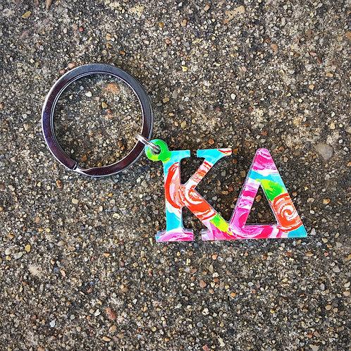 Kappa Delta Floral Key Chain