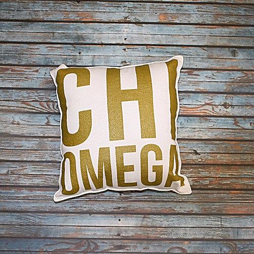 Chi Omega Gold Shimmer Pillow