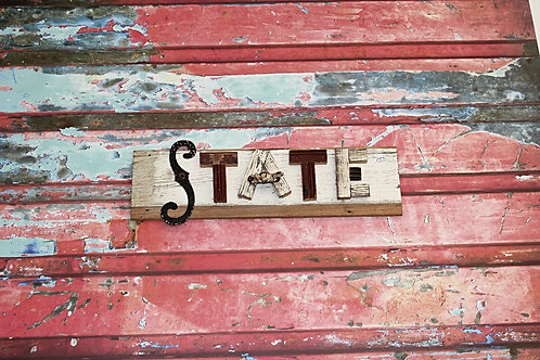 State Wooden Sign