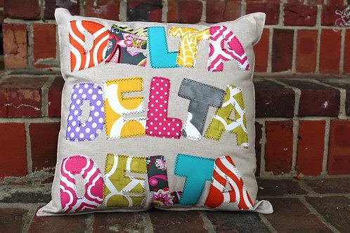Tri Delta Large Applique Pillow