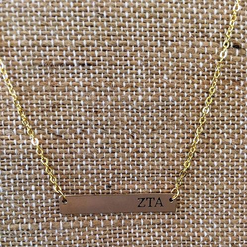 Zeta Tau Alpha Bar Necklace