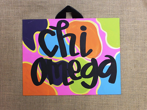 Chi Omega Fun & Funky Canvas