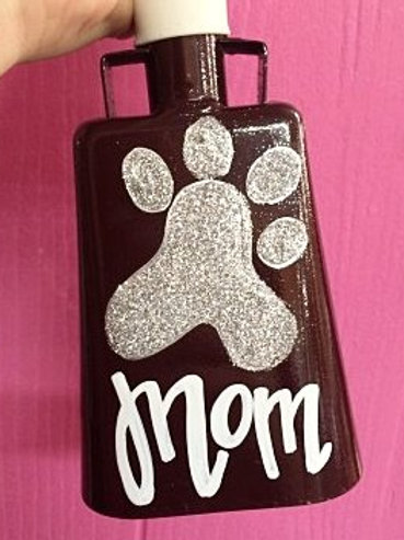 Name w/ Glitter Pawprint Cowbell