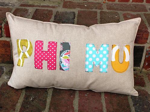 Phi Mu Large Applique Pillow