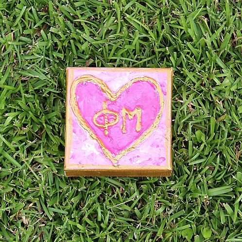 Phi Mu Small Heart Canvas