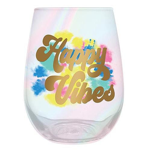 Happy Vibes Wine Glass