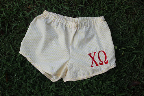 Chi Omega Seer Sucker Shorts