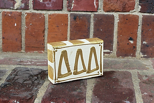 Tri Delta Gold & Cream Wooden Block