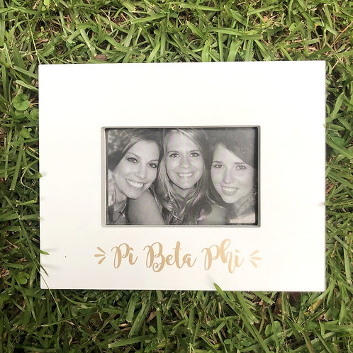 Pi Beta Phi White and Gold Picture Frame