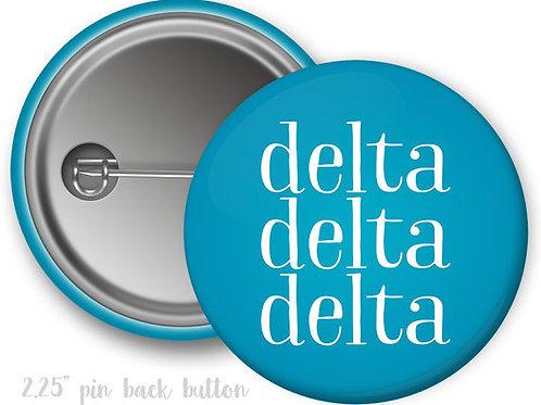 Tri Delta Simple Script Pin Button