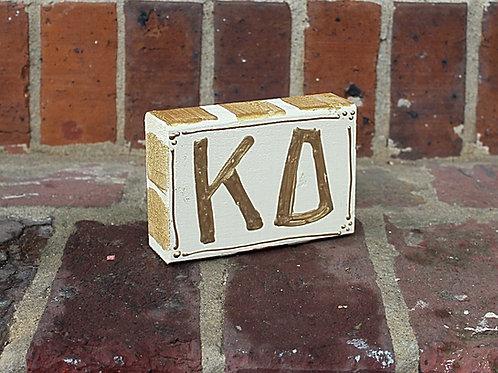 Kappa Delta Gold & Cream Wooden Block