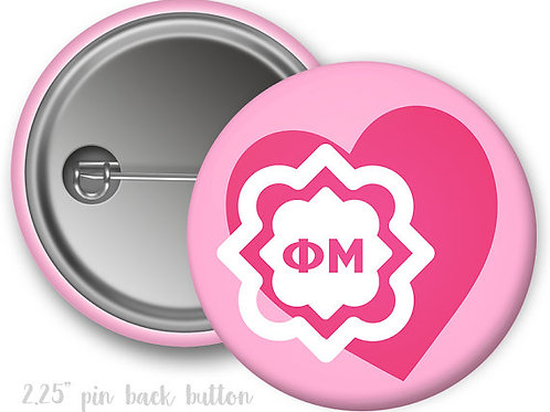 Phi Mu Heart Pin Button