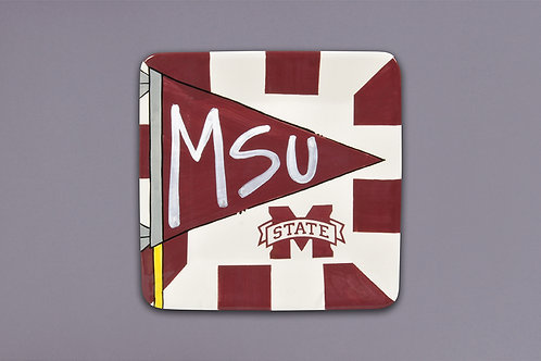 MSU Flag Square Plate