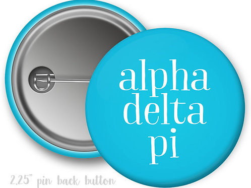 Alpha Delta Pi Simple Script Pin Button