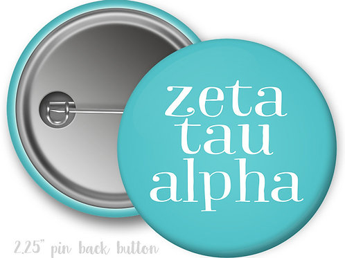 Zeta Tau Alpha Simple Script Pin Button