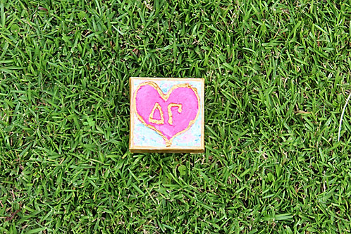 Delta Gamma Small Heart Canvas