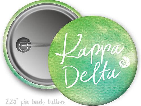 Kappa Delta Watercolor Script Pin Button