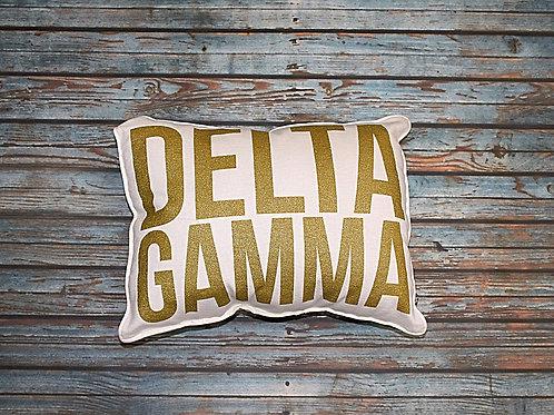 Delta Gamma Gold Shimmer Pillow