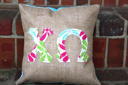 Chi Omega Small Applique Pillow