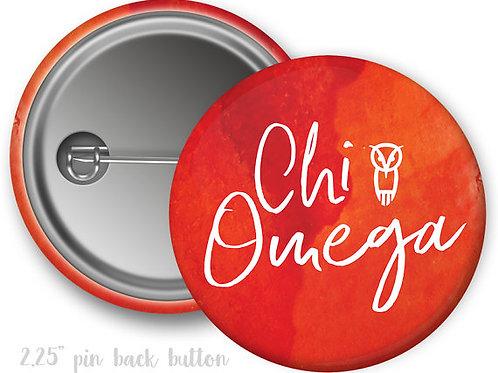 Chi Omega Watercolor Script Pin Button
